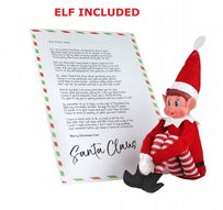 eBuyGB Elves Sitting on Shelves Elf with Personalised Letter Festive Christmas Elf and Keepsake
